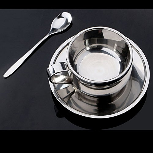 Zehui Insulated Coffee Mugs Stainless Steel Coffee Cup Set Coffee Cup Saucer Spoon