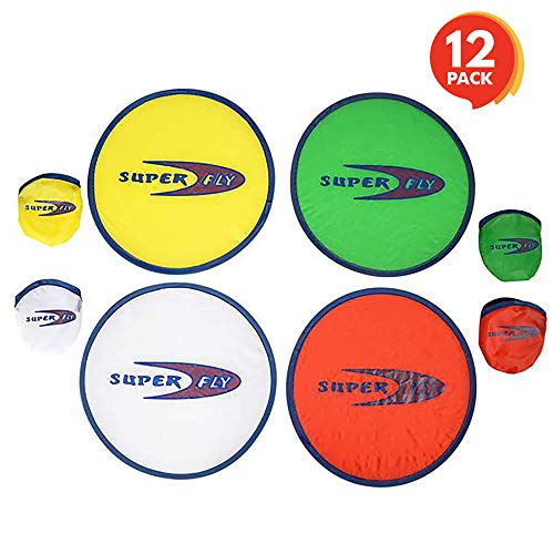 ArtCreativity Folding Pocket Frisbee Set (12 Pack) | Foldable Frisbees for Kids and Adults | Colorful Flying Disc Toys | Fun Birthday Party Favors for Boys and Girls/ Summer Outdoor Activity Game ()