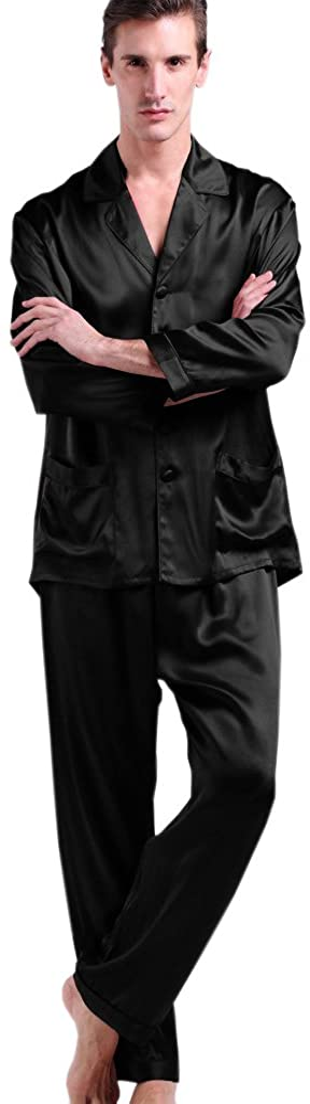 Easy 1940s Men's Fashion Guide LilySilk Mens Silk Long Pajamas Set for Men 2pc Sleepwear Soft Luxury 22 Momme Real Mulberry Silk $159.99 AT vintagedancer.com