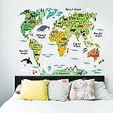 BIBITIME Murals World Map Sticker Wall Decal Country Cartoon Typical Animals Jungle Nursery Art Decor Decals Stickers for Kids Playroom Kindergarden,37.40 * 28.74 IN