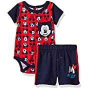 Disney Baby Boys' 2 Piece Mickey Mouse French Terry Short Set,Red-Onsie,0/3m