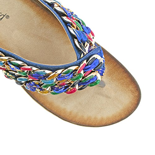 LADIES BOULEVARD BLUE MULTI FABRIC LINK SLIP ON TOE POST SANDALS L9572C KD-UK 5 (EU 38)