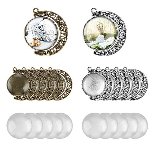 (Accmor Pendant Trays with Glass Cabochons, 10 Pcs Moon Rotation Double Side Pendant Blanks with 20 Pcs Glass Cabochon Clear Dome, Pendant Blank Bezels for Jewelry Making, Totally 30 Pcs)