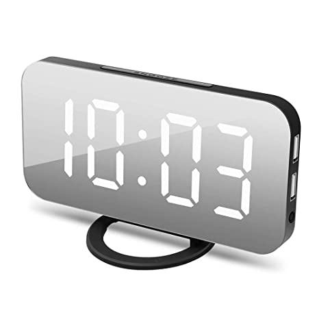 AYQ Reloj de alarma digital, diseño de espejo LED grande Control de brillo de 3 niveles Fuente ...