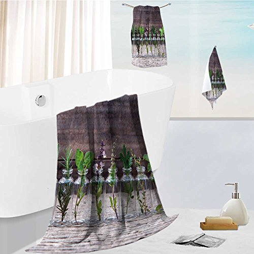 Family Big Bath Towel set bottle of essential oil with herbs holy basil flower basil flower rosemary oregano sage parsley Printing Print Bath Towel Super Absorbent Body Wrap Pool Towel by Philiphome