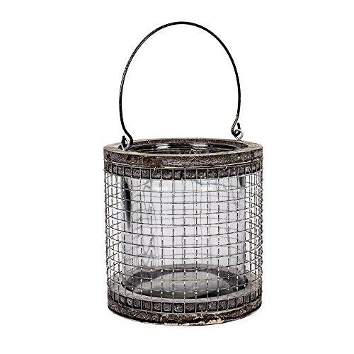 Large Round Mesh Chicken Wire 7 inch Natural Birch Lantern Decoration with Handle