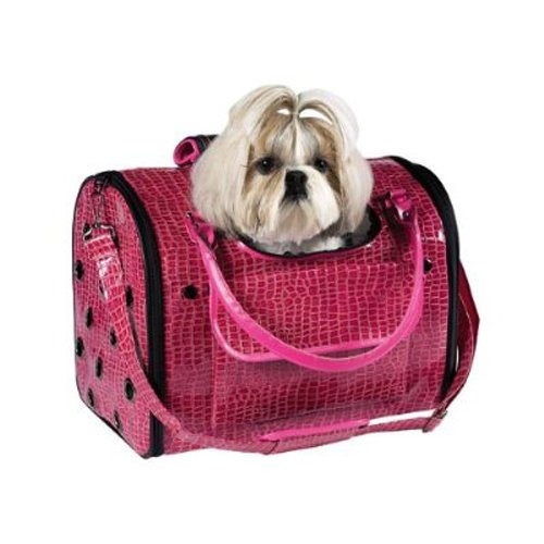 Zack and Zoey Crocodile Texture Pet Carrier, Small, Pink, My Pet Supplies