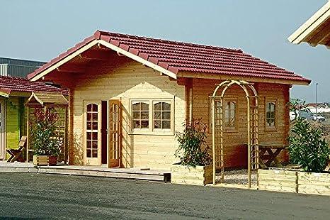 Jardín Casa alpina 58 + Dormir suelo bloque madera casa 445 x 590 cm – 58 mm: Amazon.es: Jardín