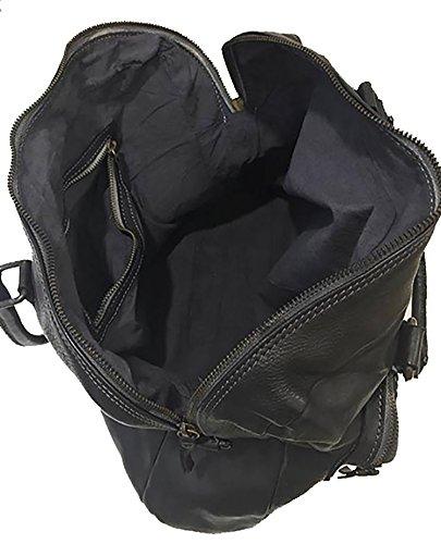 Damen Tasche Era Paul.hide Beutel, Handtasche, Schultertasche Vintage Geflochten, Gewaschenes Leder, Made In Italy Handgefertigt Umhängetasche Vintage Used-Look Schwarz 40x26x14cm (B x H x T)