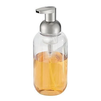 InterDesign Duo Dosificador de Espuma para el baño, dispensador de jabón de plástico, Transparente
