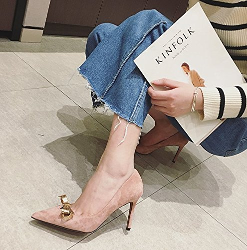 Heels Fine 39 Shoes A All Elegant Work Point With Bow Naked Shoes 8Cm Spring Leisure Lady Pink MDRW Match H7qBUU