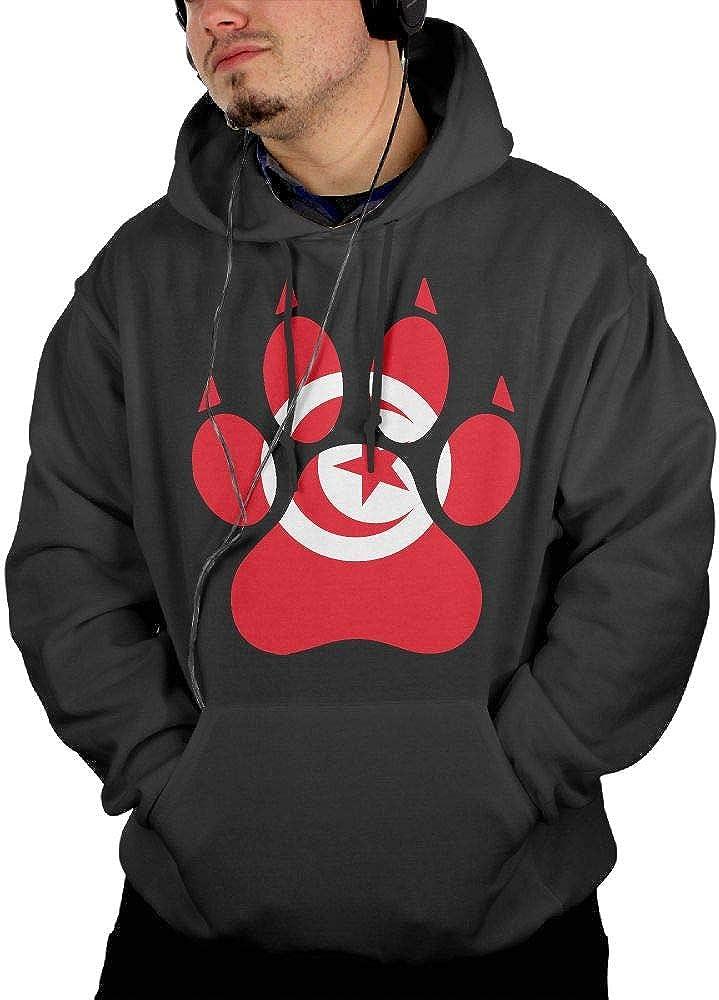 Mens Tunisia Flag Dog Paw Hooded Fleece Warm Cotton Fleece Hoodie with Pocket for Men