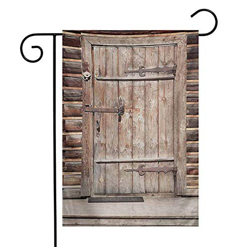 (Mannwarehouse Rustic Garden Flag Timber Rustic Door in Wall of an Old Log House Ancient Abandoned Building Entrance Gate Premium Material W12 x L18 Brown)