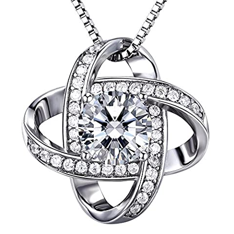 ZENI 925 Silver Necklace Women 3A 6mm Cubic Zirconia Gemini Twisted Pendant Italy 18