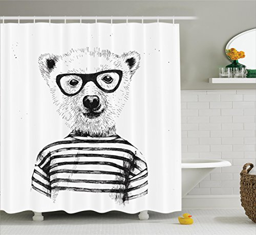 Ambesonne Funny Shower Curtain Apartment Decor, Dressed Up Hipster Nerd Smart Male Bear in Glasses Fun Character Animal Artful Print, Fabric Bathroom Shower Curtain Set with Hooks, Black White
