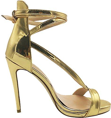 Sandals Stiletto 12CM Gold Toe Women Buckle Vaaab Vaneel Open Shoes 6ax0WH