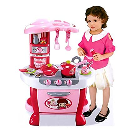 Toyshine Big Size Kitchen Set Toy With Music And Lights Playing Accessories Pink