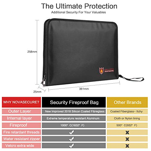 Fireproof File Folder Vdealen Fireproof and Water Resistant Money Document Bag with A4 Size 12 Pockets Zipper Closure Non-Itchy Silicone Coated Portable Filing Organizer Pouch (Black) by Vdealen (Image #4)