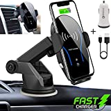 Fast Wireless Car Charger Mount, Automatic Clamping, Suction Mount and Vent Clip with QC3.0 Charger Adapter for Samsung S10/10+/10e/9/9+/8/Note8 iPhone Xs Max/Xs/XR/X/8/8Plus,and All Qi Phones