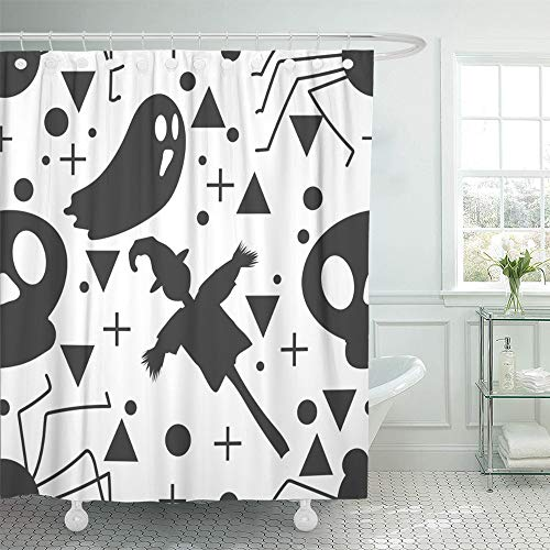 Emvency Shower Curtain Set Waterproof Adjustable Polyester Fabric Baby Halloween Ghost and The Scarecrow Childish for Festive Cartoon 60 x 72 Inches Set with Hooks for Bathroom -