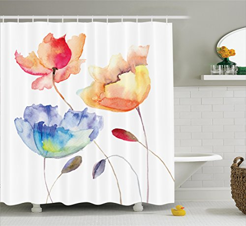 Watercolor Flower Decor Shower Curtain Set by Ambesonne, Summer Flowers in Retro Style Painting Effect Nature is a Blessing Art, Bathroom Accessories, 84 Inches Extralong, Pink Yellow Blue (Retro Flowers Pink)