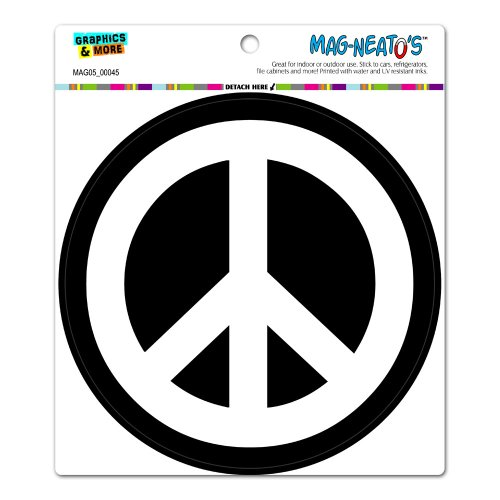 Peace Sign Vinyl Stickers - Peace Sign Symbol White Black - Circle MAG-NEATO'S™ Automotive Car Refrigerator Locker Vinyl Magnet