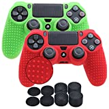 YoRHa Studded Silicone Cover Skin Case for Sony PS4/slim/Pro controller x 2(red+green) With Pro thumb grips x 8 For Sale