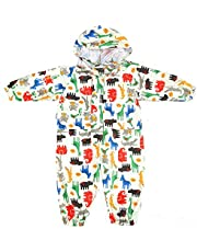 Toddler Rain Suit Baby Rain Suit with Hood Waterproof Coverall One Piece Rain Suit Kids Muddy Buddy (1-7 Years)