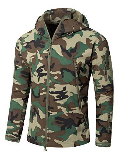 (YFNT Men's Softshell Tactical Hooded Jacket Military Fleece Jacket Outdoor Coat)