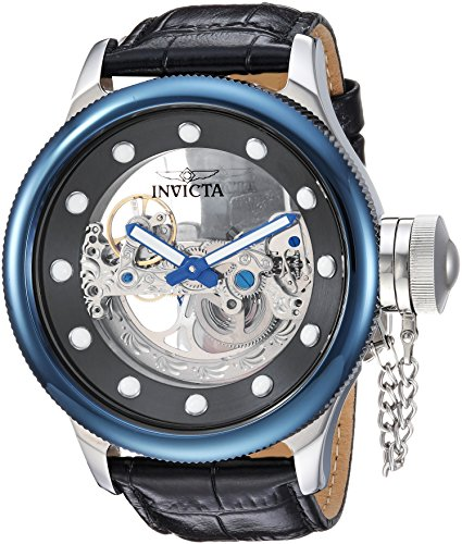 - Invicta Men's Russian Diver Stainless Steel Automatic-self-Wind Watch with Leather Calfskin Strap, Black, 26 (Model: 24596)