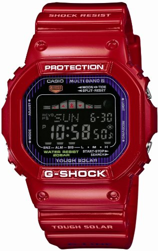 G-Shock Tough Solar Red Plastic Resin Case and Bracelet Black Tone Digital Dial Tide Graph Moon Data Digital Solar Bracelet
