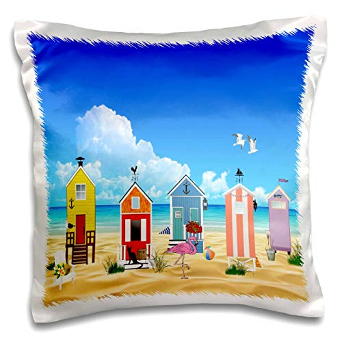 (3dRose Lens Art by Florene - Flamingo and Beach Art - Image of Colorful Beach Huts with Flamingo On Ocean - 16x16 inch Pillow Case)