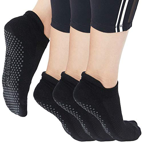 Yoga Socks for Women Non Skid Slipper Socks with Grips Barre Socks Pilates Socks for Women (black 3 pack, Women Size 6-10)