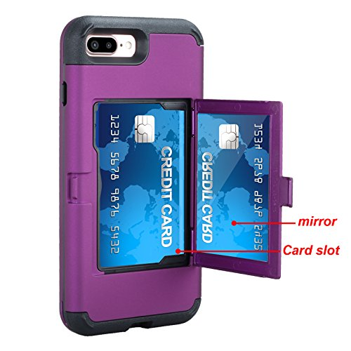 Hidden Wristlet - iPhone 7 Plus Case, iPhone 7 Plus Mirror Case,Hidden Back Mirror Wallet Case for Girls Women with Card Holder Impact Shock-Absorbent Case Cover for Apple iPhone 7 Plus. (Purple)