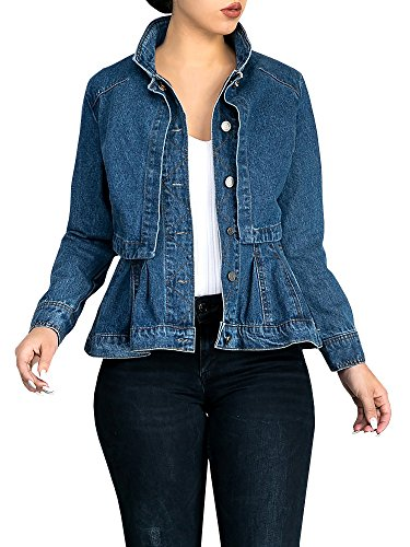 Misassy Womens Vintage Slim Fit Cape Up Peplum Button Down Denim Jean Jacket With Asymmetry Ruffle Hem Plus Size by Misassy