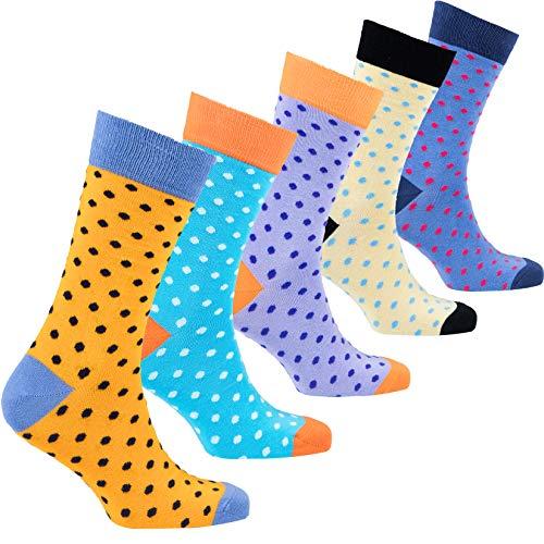 Socks n Socks-Men's 5-pair Luxury Cotton Polka Dotted Dots Dress Socks Gift Box ...