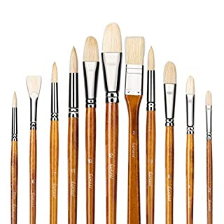 11pcs Professional 100% Natural Chungking Pure Hog Bristle Artist Paint Brushes for Acrylic Gouache Oil Painting with a Free Carrying Box