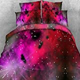 Alicemall Twin Galaxy Bedding Comforter Set Splendid Red Galaxy Outer Space Print 5-Piece Comforter Sets, Red Duvet Bed Set for Boys and Girls (Twin, Red-5pcs)