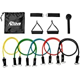 Go Active Lifestyles Resistance Bands For Legs And Butt - With Handles - Exercise Resistance Band With Handles For Workout - Best Fitness Bands For Sports Training - 5 pcs (Black)
