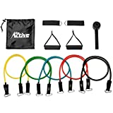 Go Active Lifestyles Resistance Bands For Legs And Butt – With Handles – Exercise Resistance Band With Handles For Workout – Best Fitness Bands For Sports Training – 5 pcs (Black) For Sale