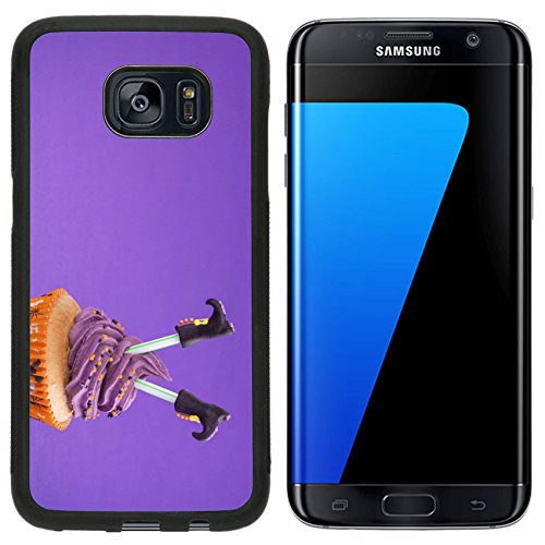 [Luxlady Premium Samsung Galaxy S7 Edge Aluminum Backplate Bumper Snap Case IMAGE ID: 22167569 Halloween cupcake with witch] (Easy Decorated Halloween Cupcakes)
