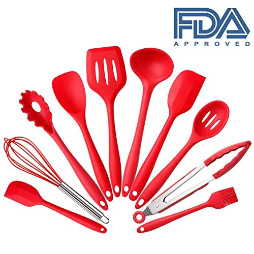 Set of 10 Pieces Silicone Kitchen Cooking Utensils With Hygienic Solid Coating,Heat Resistant Baking Spoonula,Brush,Whisk,Spatula,Ladle,Slotted Turner and Spoon,Tongs Red