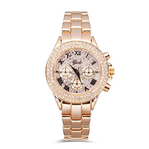 Yaki Luxusuhren Gold Armbanduhr Frauen Quarzuhr Markenuhren Strass mit Metallband für Damen