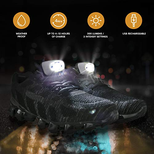 Night Running Gear Running Shoes Light or Headlamp, USB Rechargeable Waterproof Ultra Lightweight Lights for Night Running, Hiking, Fishing, Walking, with Reflective Vest and Headlamp Band