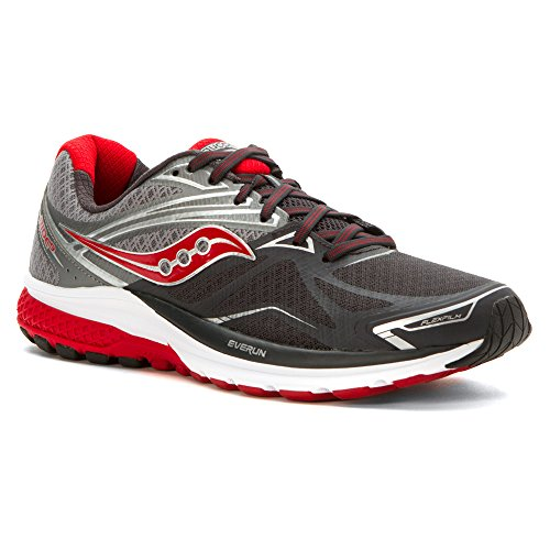 Saucony Men's Ride 9 Running Shoe, Grey/Charcoal/Red, 11 W US