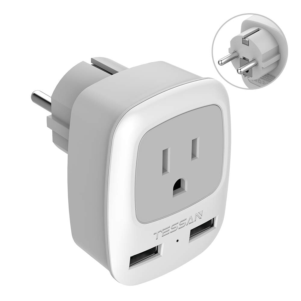 Schuko Germany France Travel Power Adapter, TESSAN Grounded Plug with 2 USB Charging Ports, 3 in 1 AC Outlet for USA To Europe Russia Iceland Spain (Type E/F)