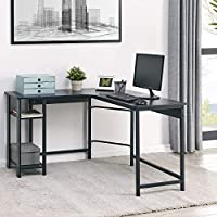 Fineboard Home Office L Shaped Computer Desk with 2 Shelves, Black