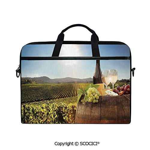 Printed Laptop Bags Notebook Bag Covers Cases White Wine with Barrel on Famous Vineyard in Chianti Tuscany Agriculture Decorative with Adjustable Strip and Zipper Closure