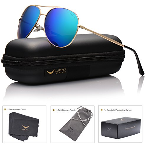 LUENX Aviator Sunglasses Polarized for Men & Women with Case - 400 UV Green Blue Lens Metal Gloss Gold Frame Mirrored 60mm