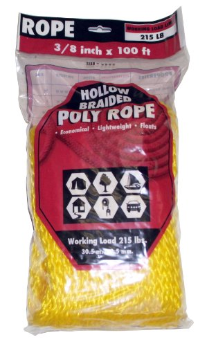 Rope King HBP-3850Y Hollow Braided Poly Rope - Yellow - 3/8 inch x 50 (Hollow Braided Poly Rope)
